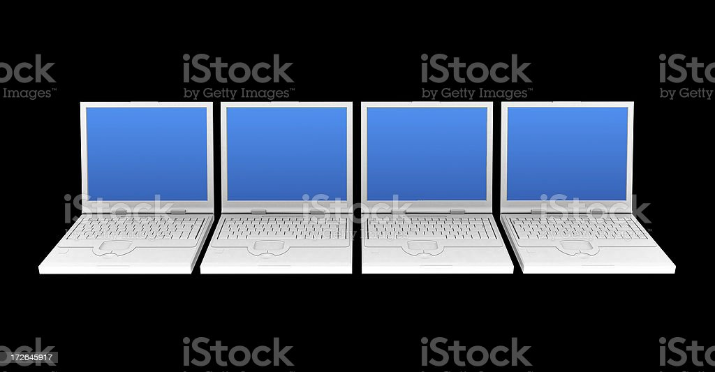 Four laptops with blue screens royalty-free stock photo
