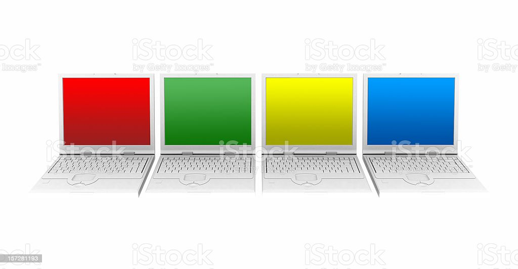 Four laptops with colour screens royalty-free stock photo