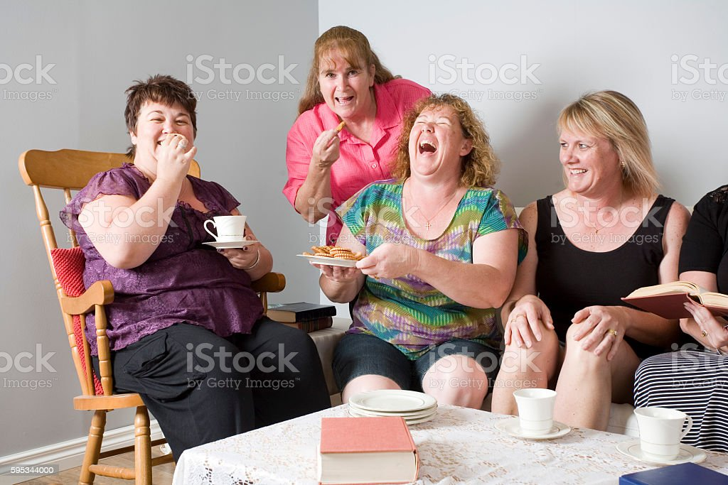 Four Laughing Women stock photo