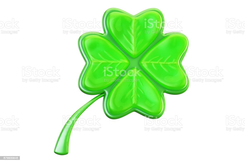 Four leaf clover closeup, 3D rendering on white background stock photo
