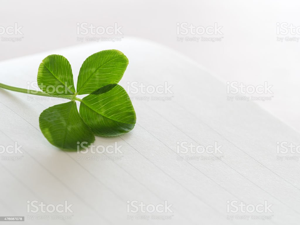 Vier Blätter und Brief-Papier – Foto