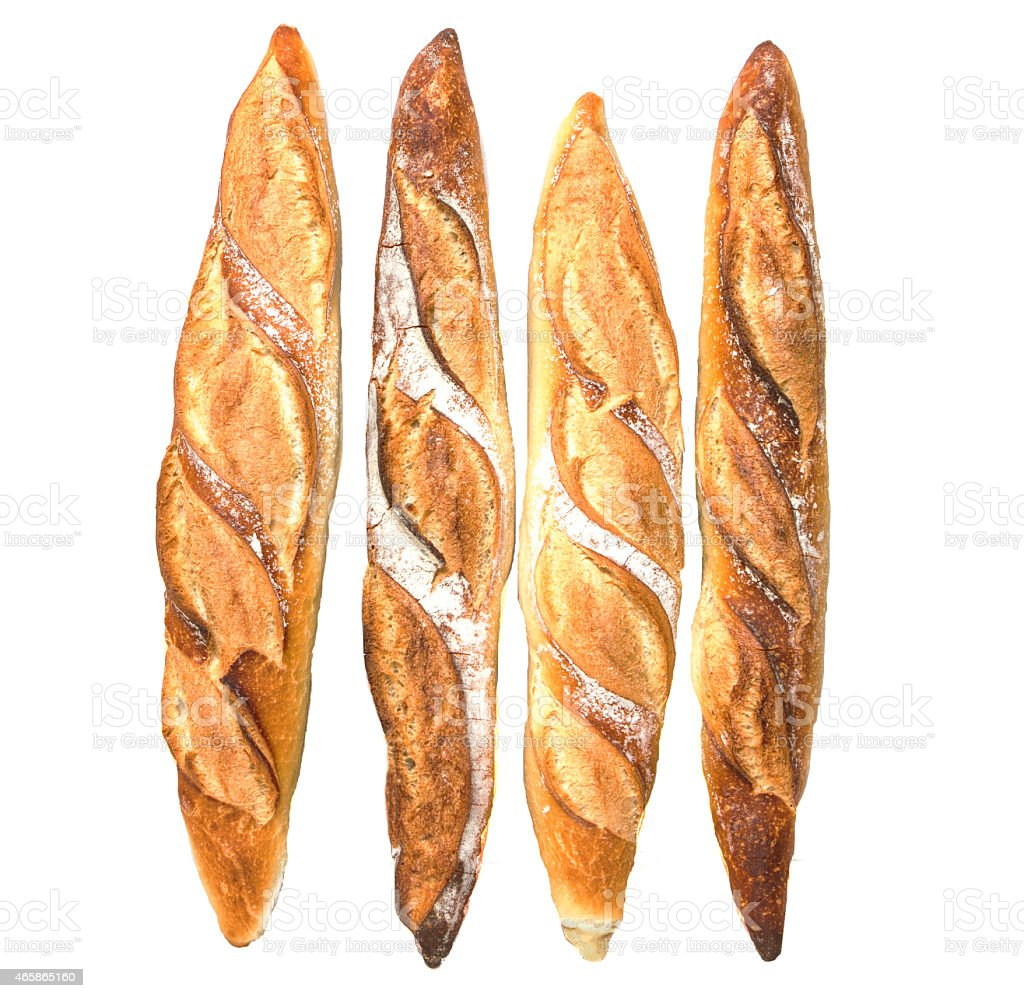 Four loaves of fresh baked bread stock photo