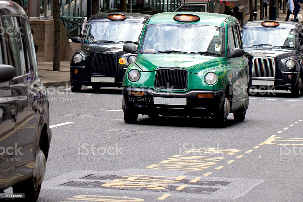 Four London Taxi Cabs stock photo