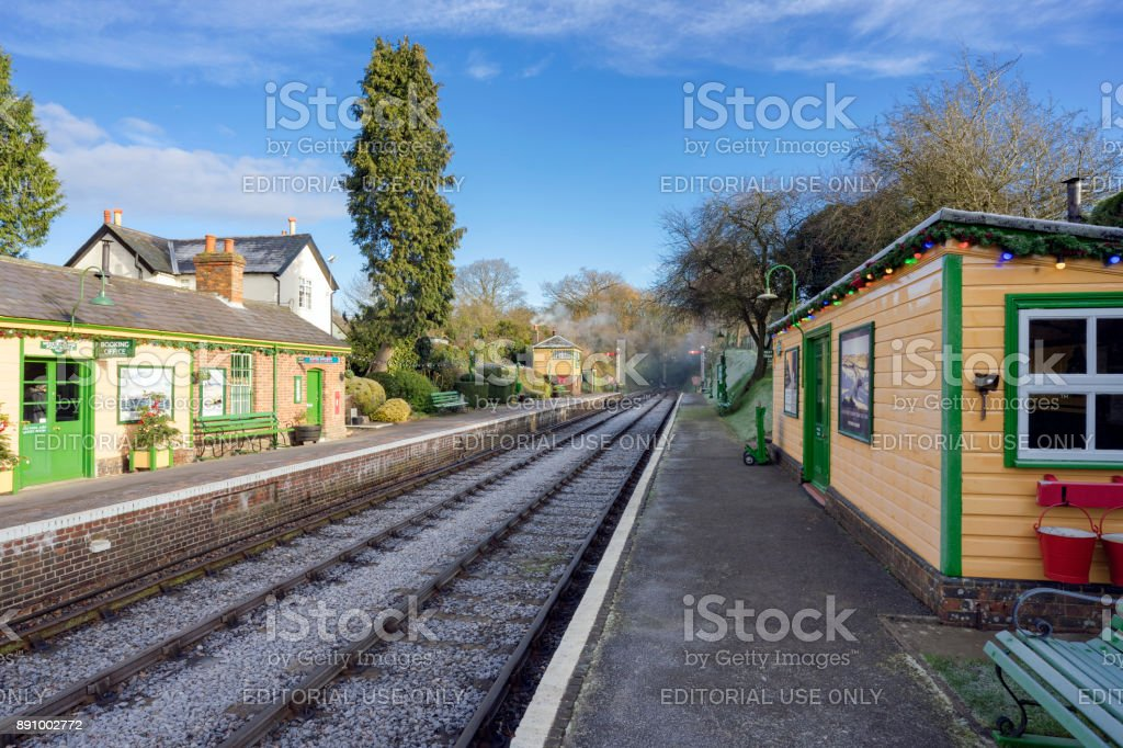 Four Marks & Medstead station on the Mid-Hants railway (Watercress line) stock photo