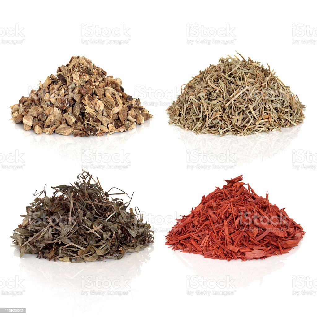 Four medicinal and magical herbs stock photo