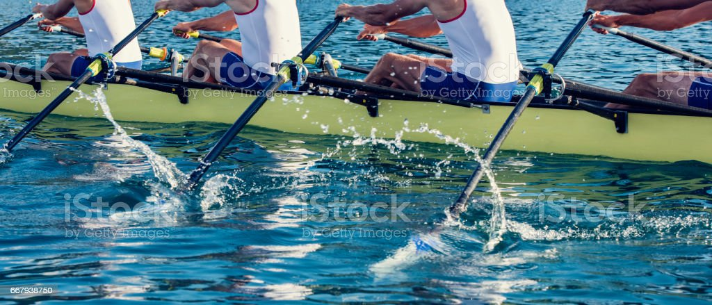 Four men in a rowboat stock photo