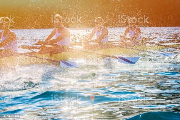 Vier Männer Rudern Auf Einem See Stockfoto und mehr Bilder von Sportrudern