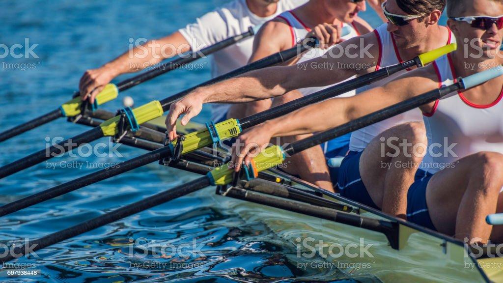 Four men rowing stock photo