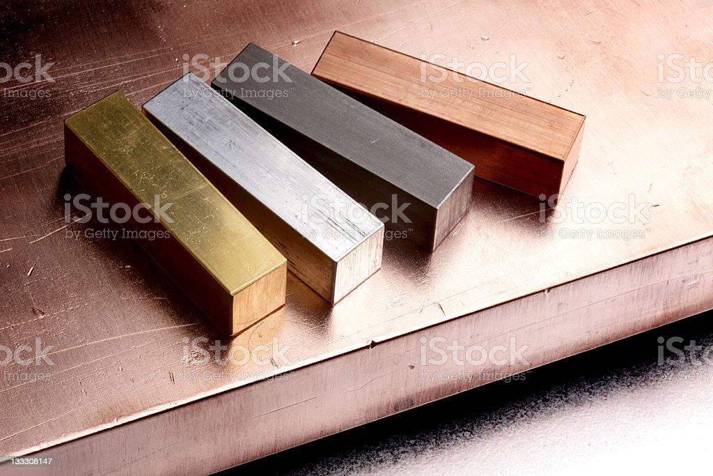 Four metals stock photo