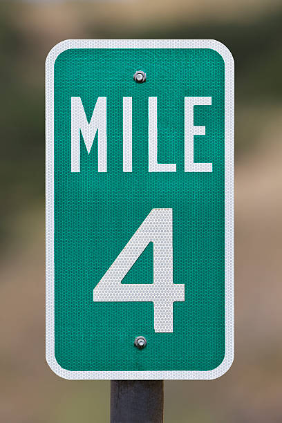 Four Mile Marker Sign Post stock photo