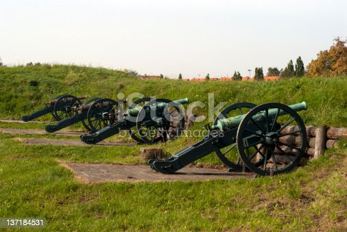 Four vintage mobile cannons on the embankment of Fredericia, Denmark.