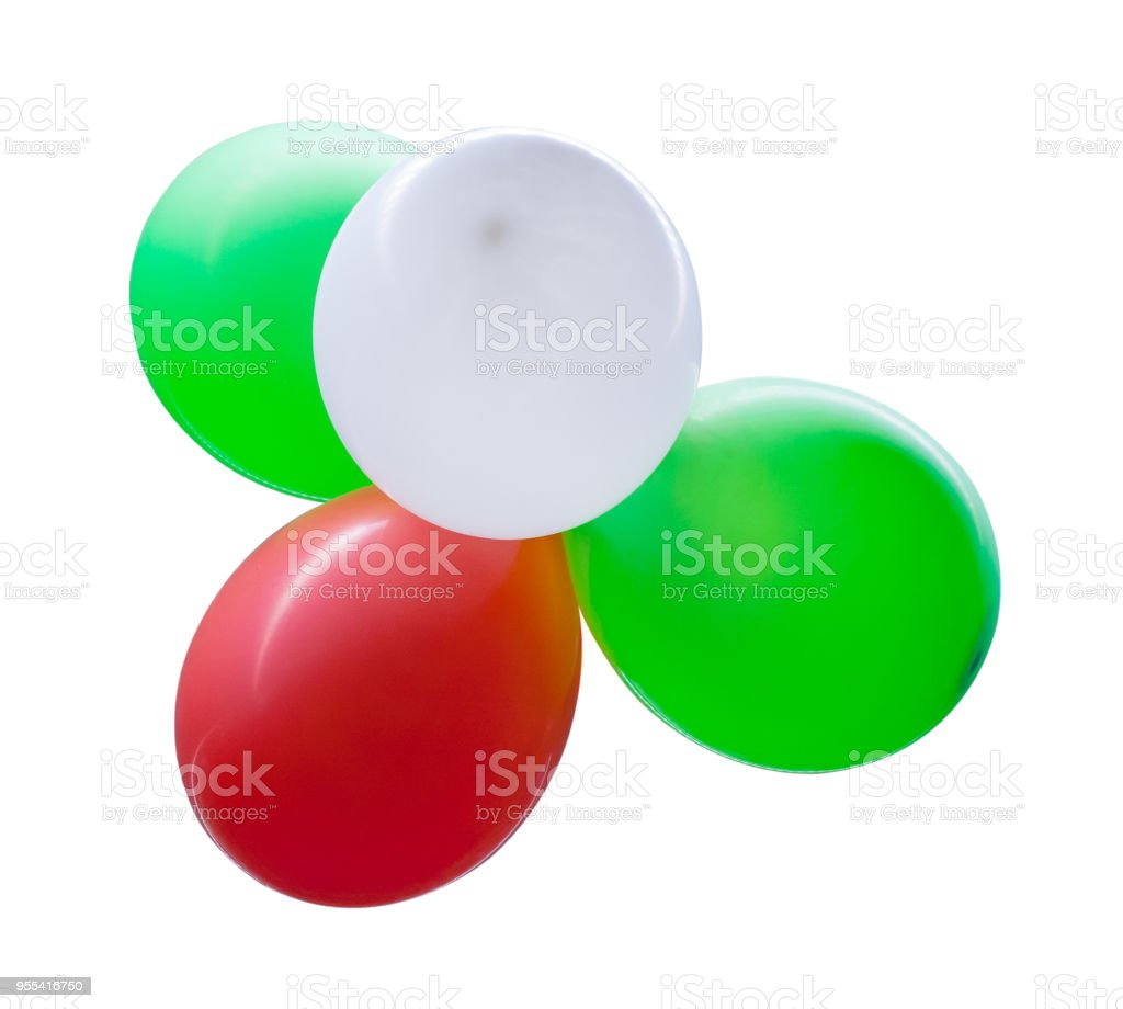 Four multicolored balloons isolated on white background - Zbiór zdjęć royalty-free (Balon)