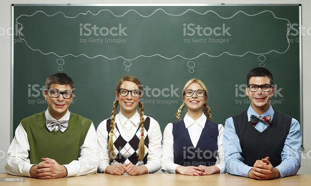 Four nerds royalty-free stock photo