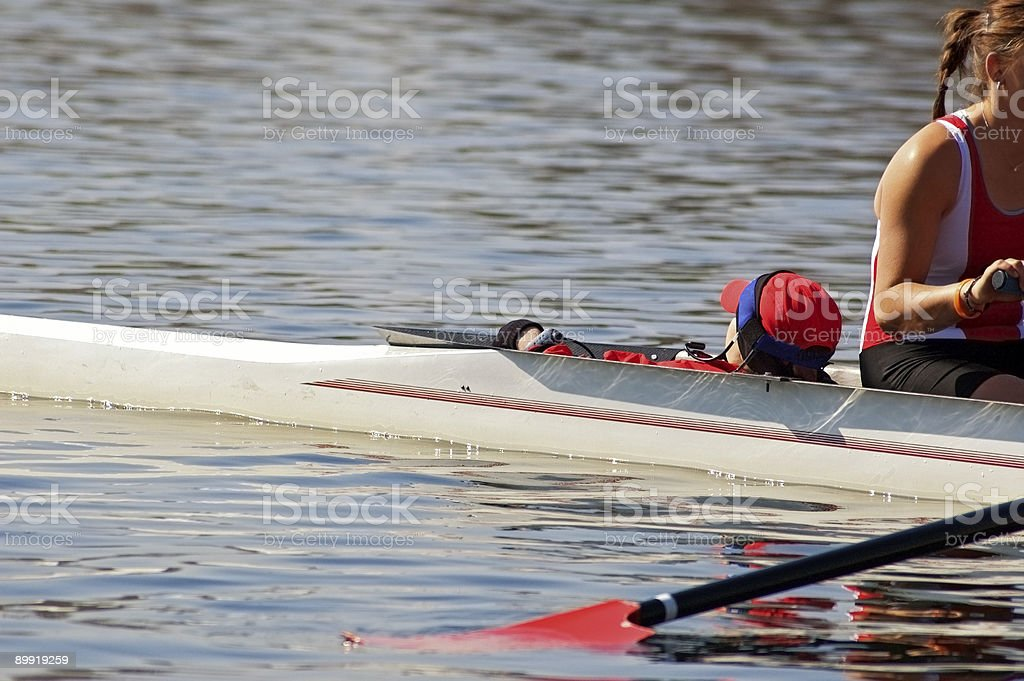 Four Oar Sweep Boat Coxswain stock photo