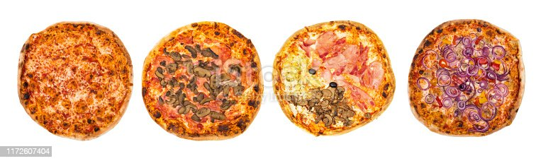 istock Four Original Italian different pizza set for menu or banner. Margherita, Mushrooms, Four Season, Peperoni and Onions. White background. Concept Pizza delivery service to home 1172607404