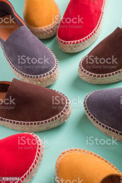 Four pair of espadrilles on mint color background close up picture id678415254?b=1&k=6&m=678415254&s=612x612&h=2qal zhdja0xbc1j4ifhwfzxkjq7guilcgwecevktxo=