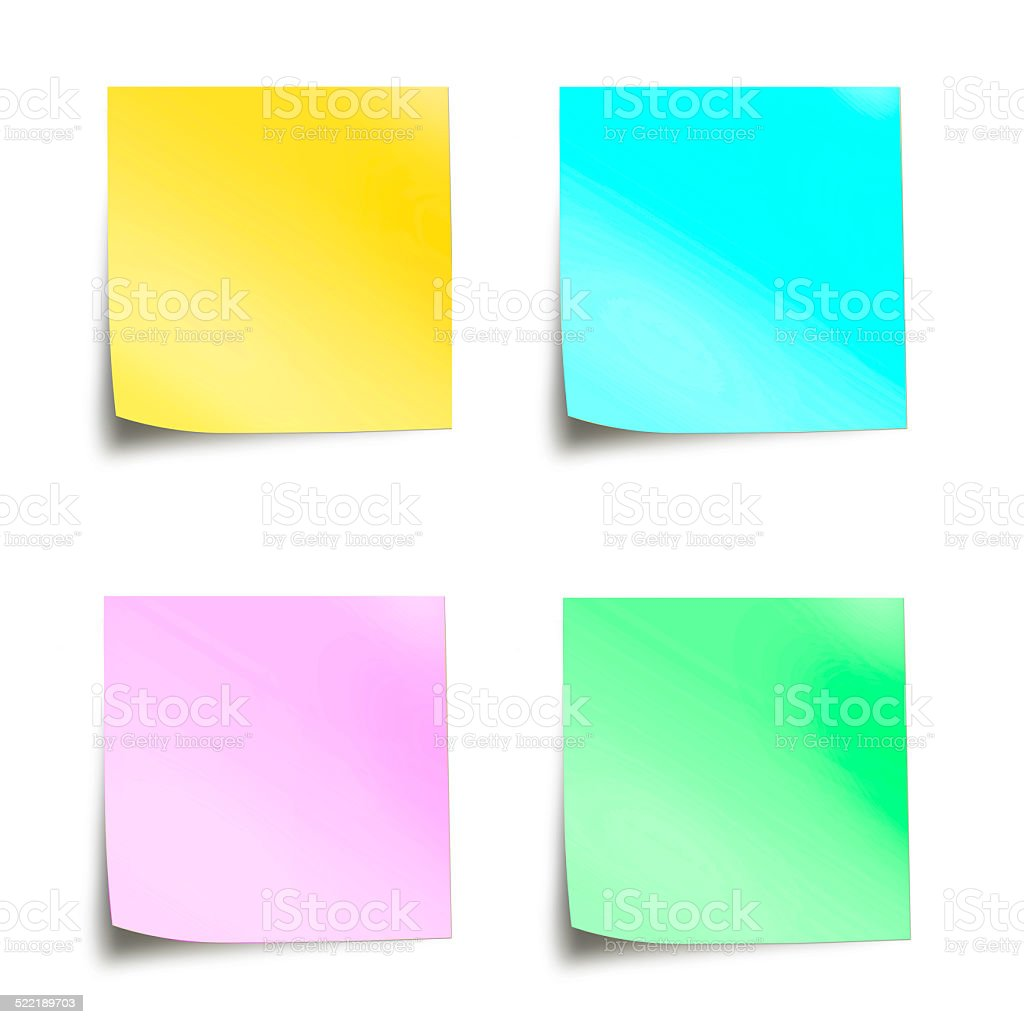 Four pastel colored sticky notes isolated on white background stock photo
