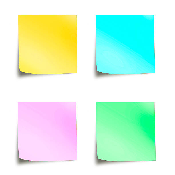 four pastel colored sticky notes isolated on white background - mail stock photos and pictures