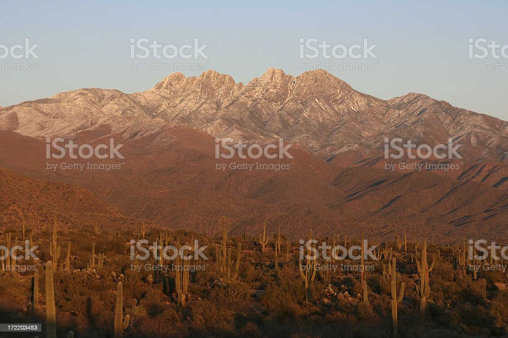 Four Peaks Mountain at Sunset stock photo