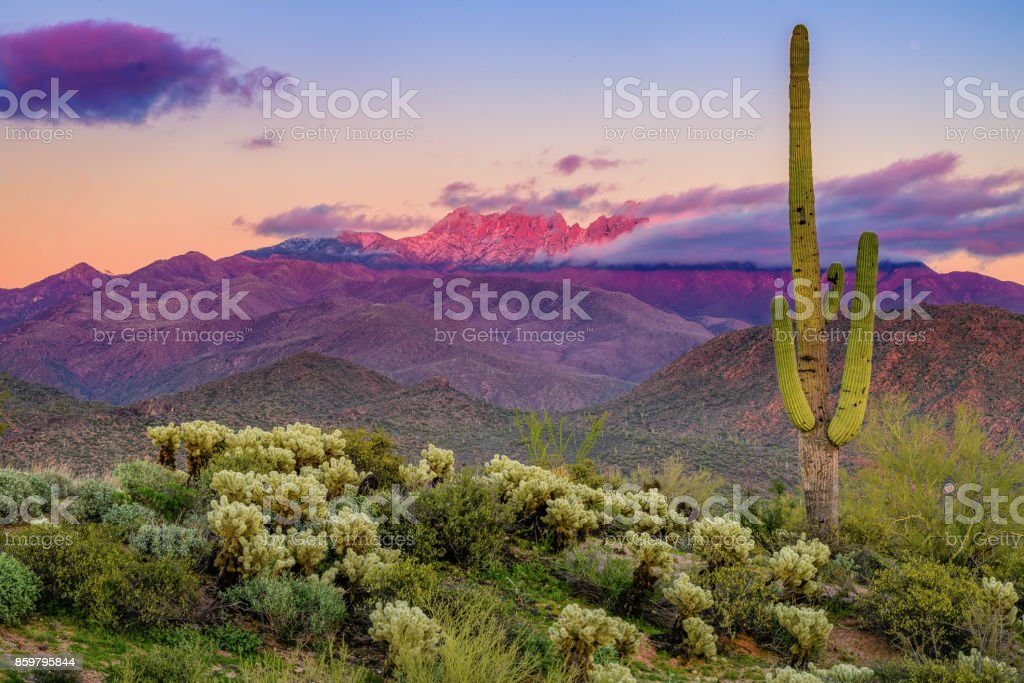 Four Peaks Mountains stock photo