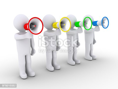 istock Four people speaking with megaphones 979315052