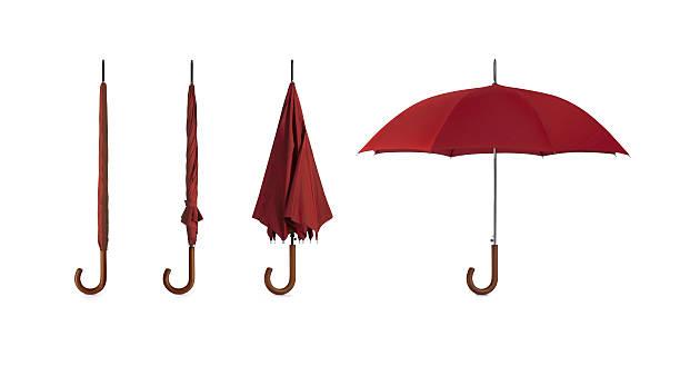 vermelhos guarda-chuva w/traçado de recorte - chapéu imagens e fotografias de stock
