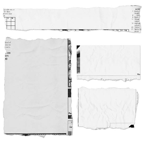 Four pieces of a torn newspaper page on white background A variety of large newspaper tears on white with drop shadows. newspaper stock pictures, royalty-free photos & images