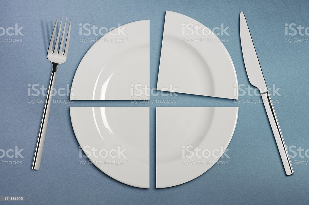 Four pieces plate and Table Setting stock photo
