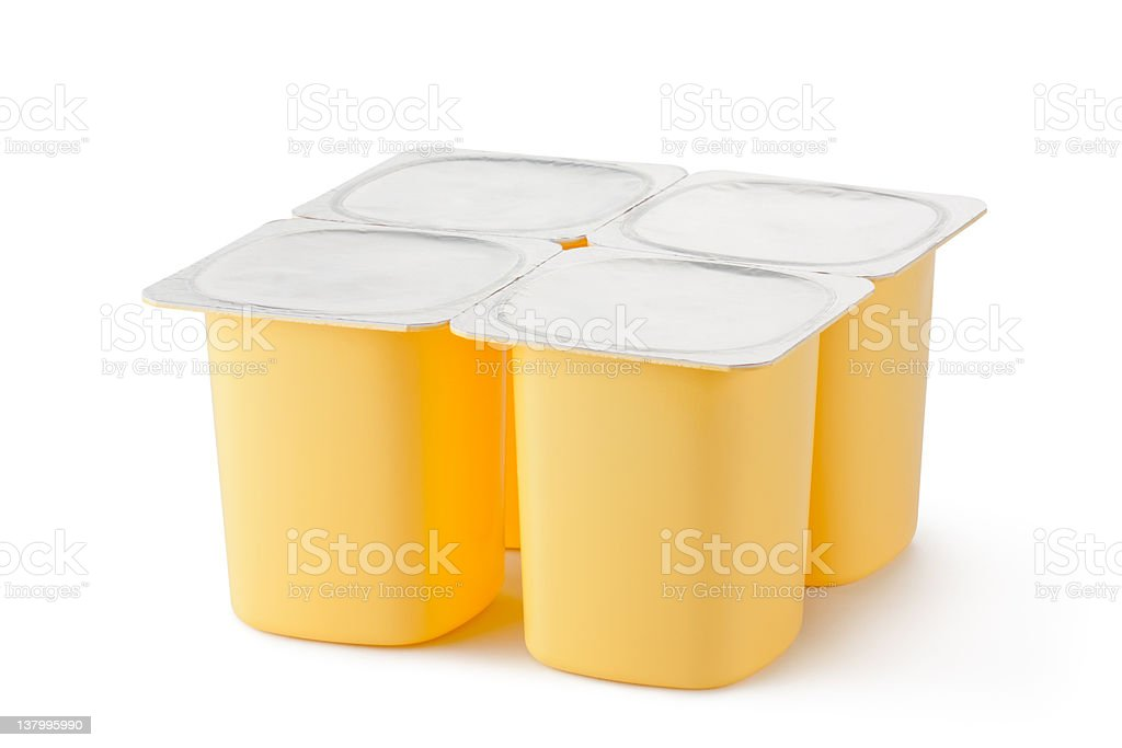 Four plastic containers for dairy products with foil lid royalty-free stock photo