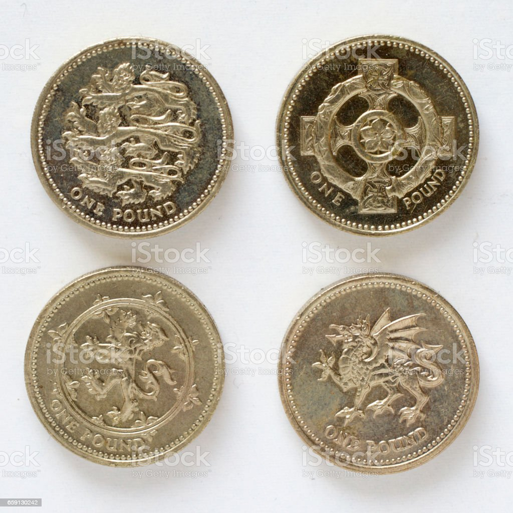 Four pound coin designs England Ireland Scotland Wales stock photo
