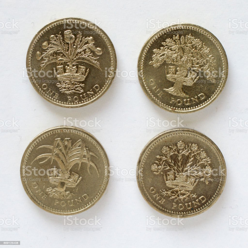 Four pound coin designs Scotland England Wales Ireland stock photo