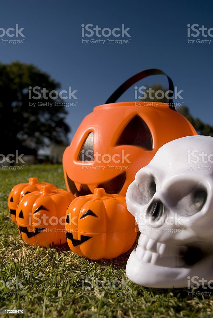 Four pumpkins and a skull royalty-free stock photo