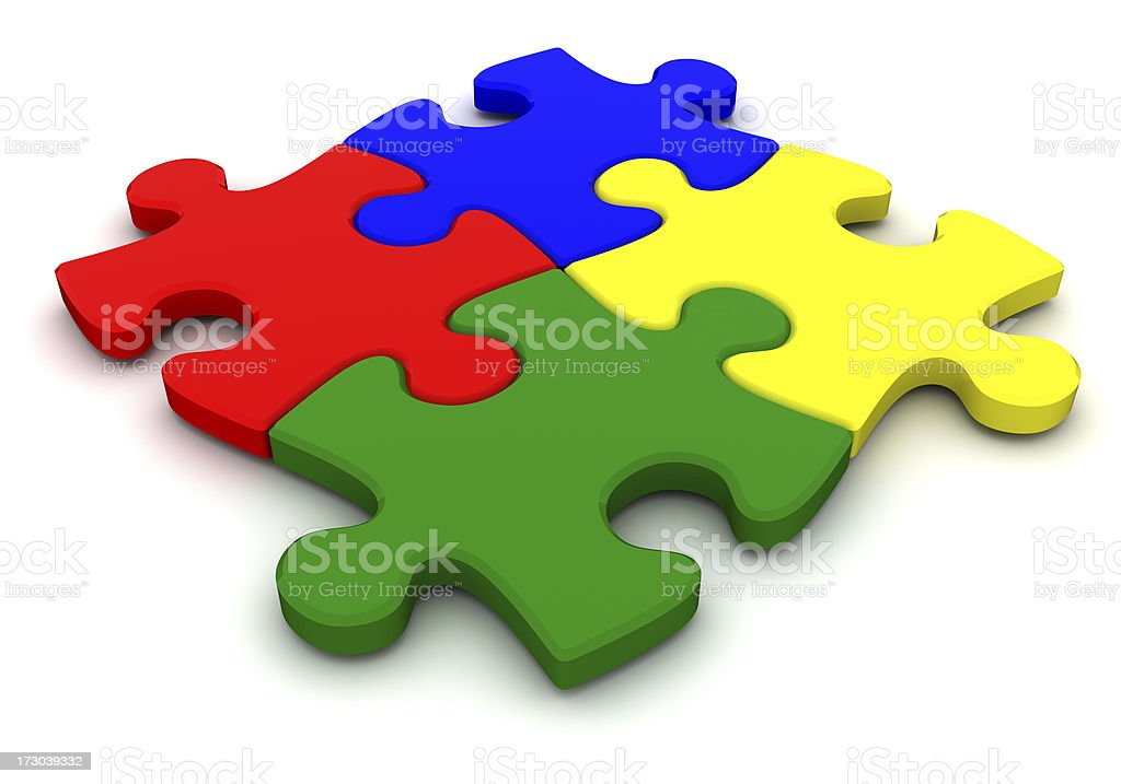 Four puzzle element royalty-free stock photo