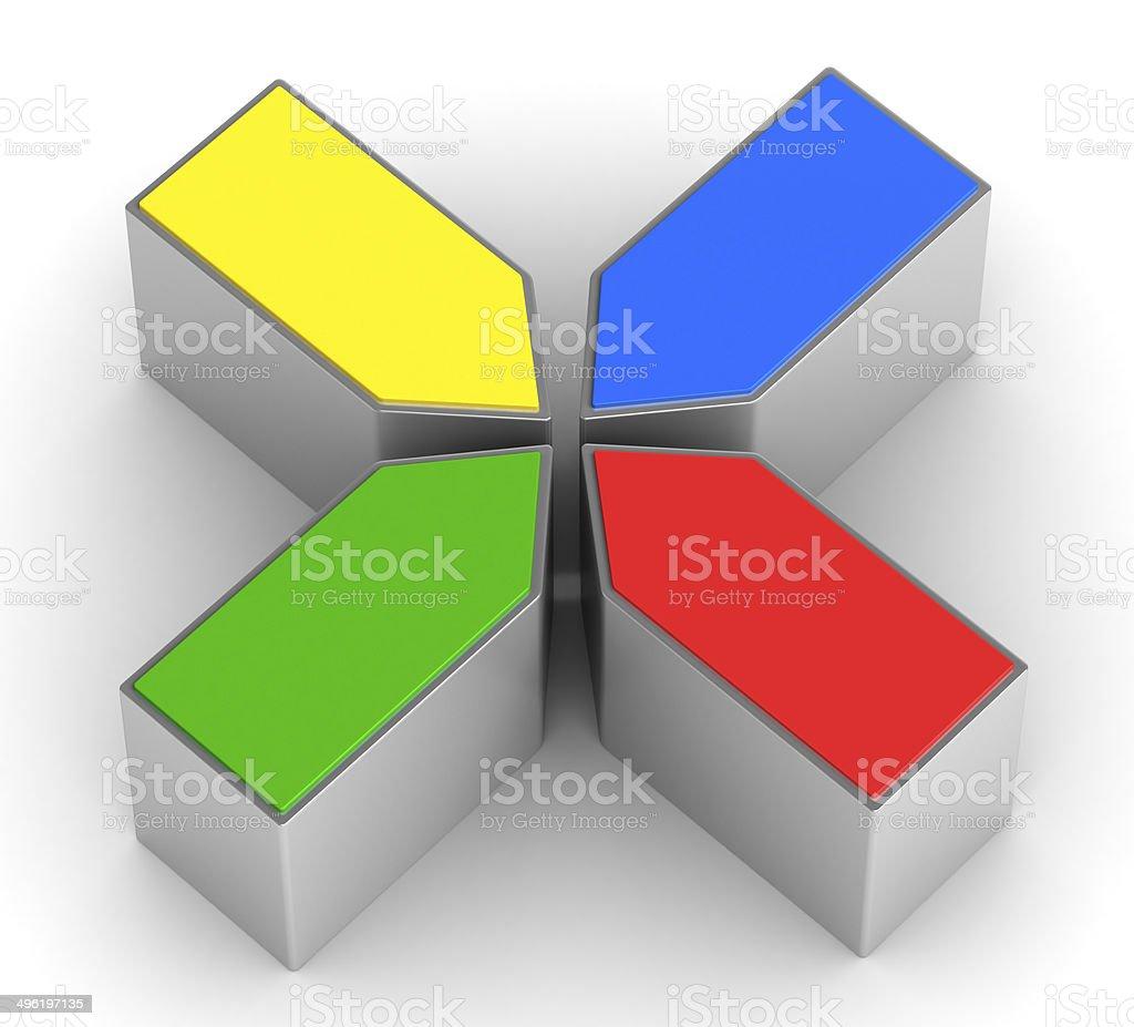 four puzzle pieces on white background stock photo