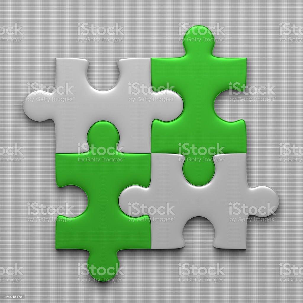 Four puzzle pieces stock photo