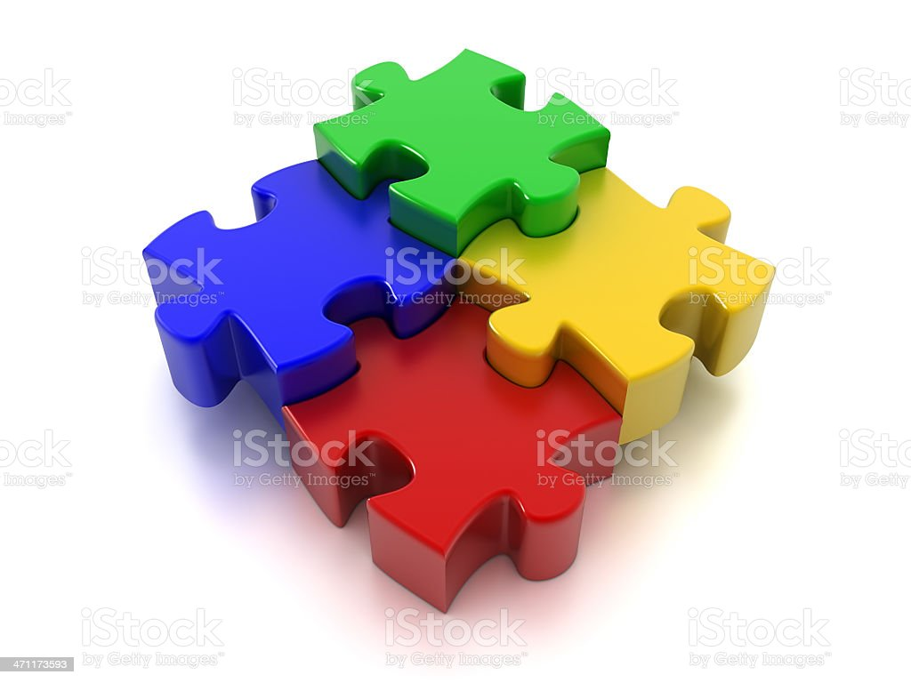 Four Puzzle pieces (Clipping Path included) royalty-free stock photo