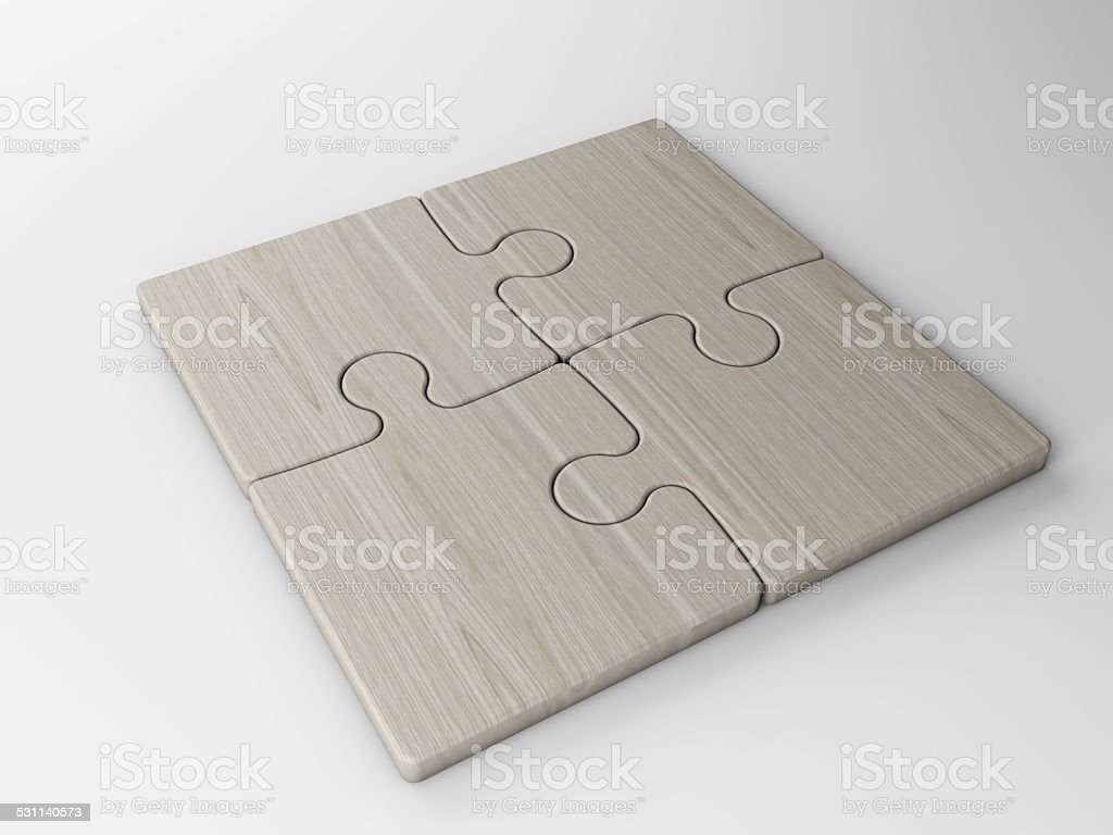 four puzzle pieces with clipping path stock photo