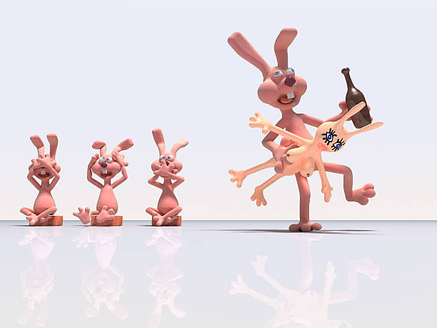 Four rabbits stock photo