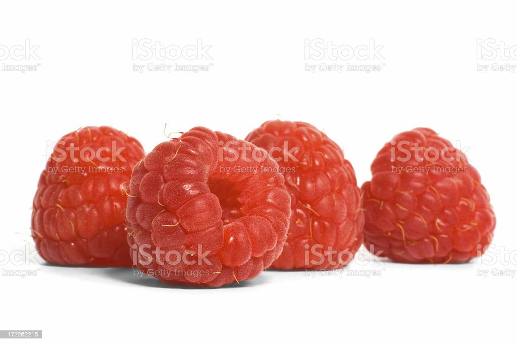 Four Raspberries royalty-free stock photo
