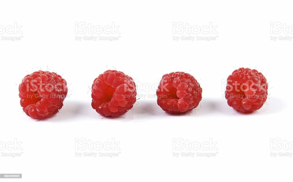 Four Raspberries royalty-free stock photo