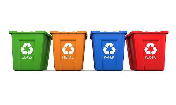four recycling bins - recycling bin stock photos and pictures