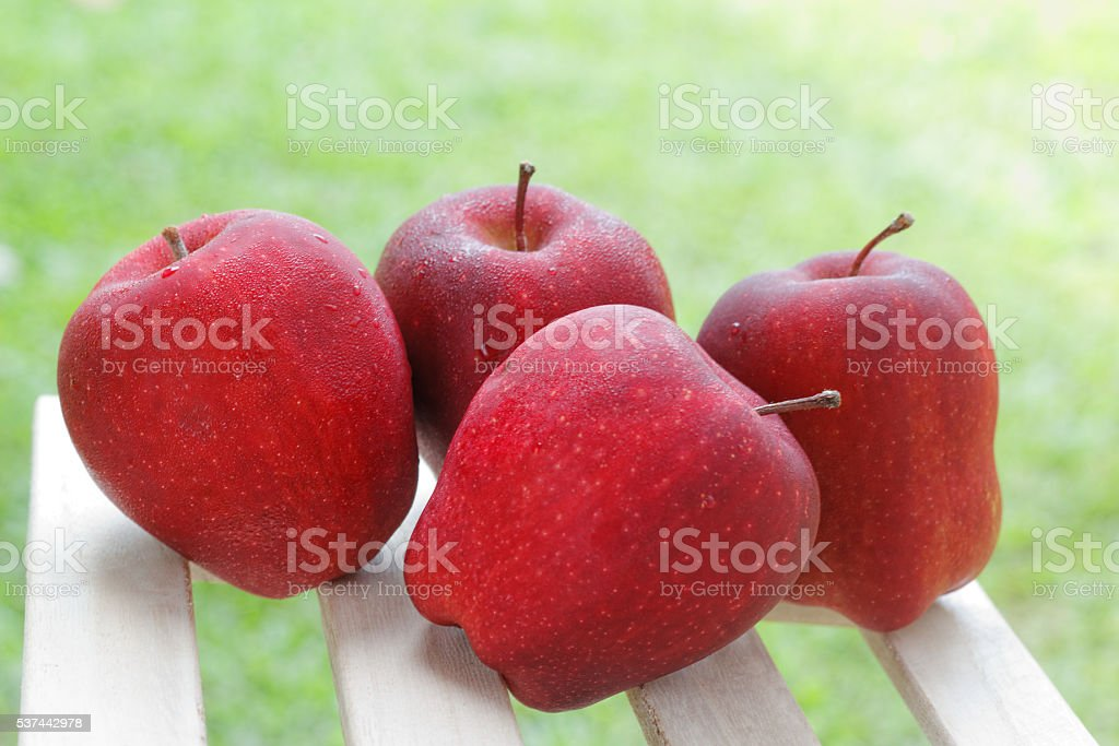 Four red apples with blurred green background. stock photo