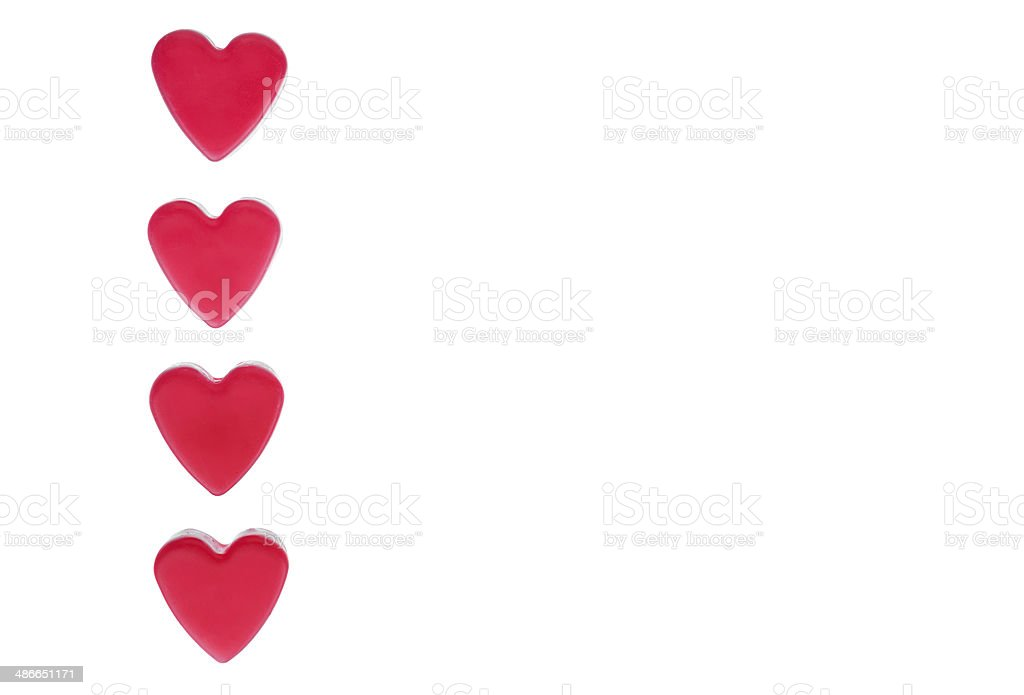 Four red hearts royalty-free stock photo