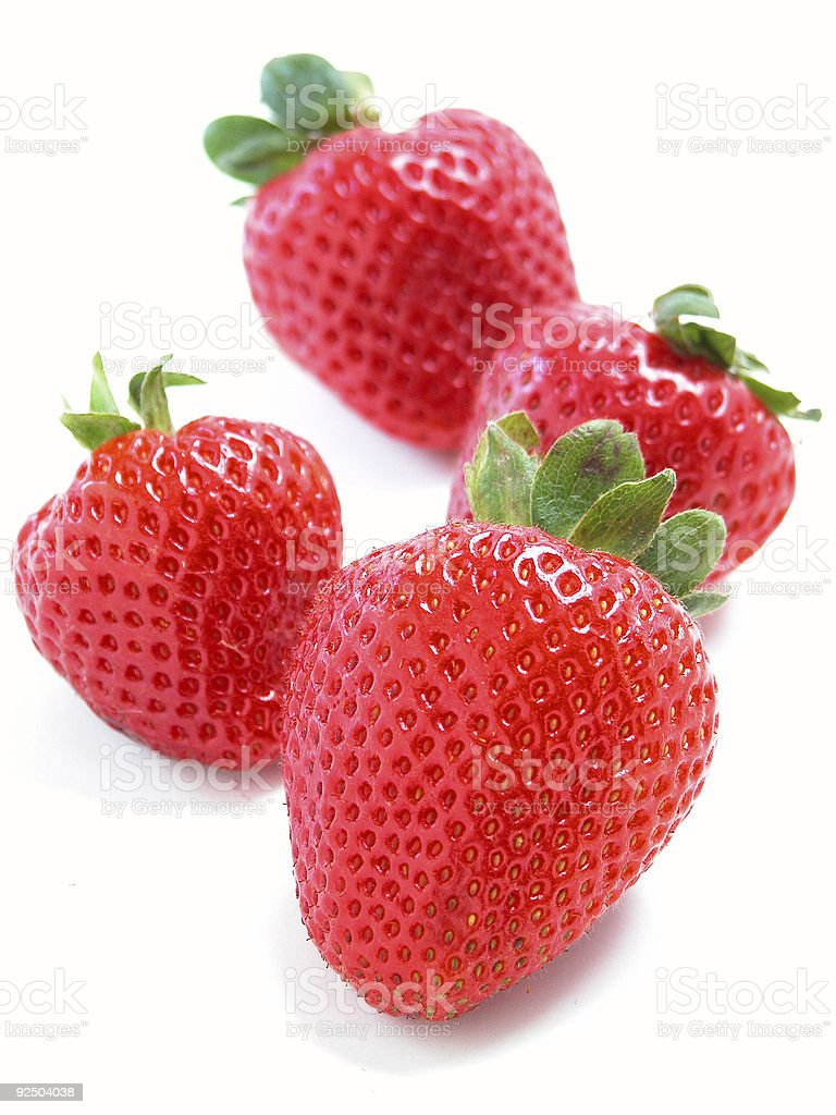 Four Red Strawberries royalty-free stock photo