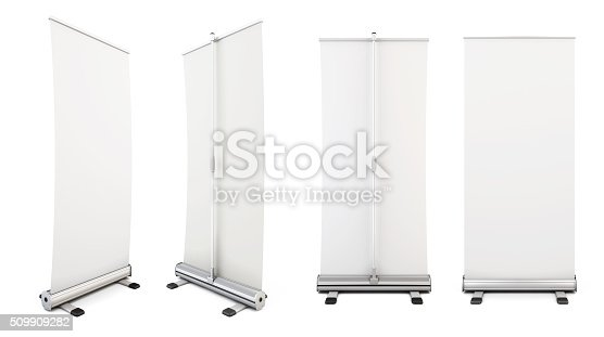 istock Four roll-up from different angles. Rollup for your design. Temp 509909282