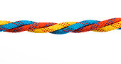 Four ropes are together on white background
