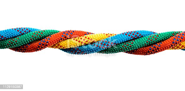 Four ropes are together on white background.
