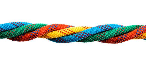 four ropes are together on white background - unione foto e immagini stock