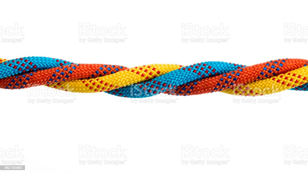 Four ropes are together on white background stock photo