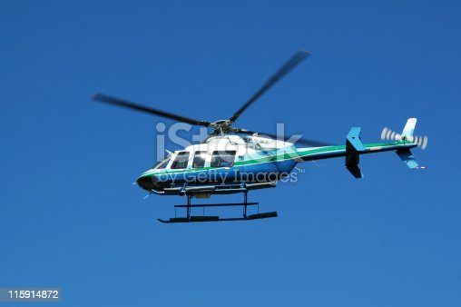 Four rotor, seven passenger helicopter. Also used as an air ambulance. Bell 407.
